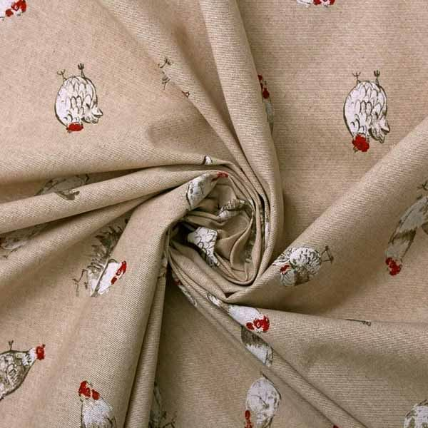 VINTAGE LINEN LOOK COUNTRY SIDE ANIMALS DIGITAL PRINT DESIGNER UPHOLSTERY FABRIC