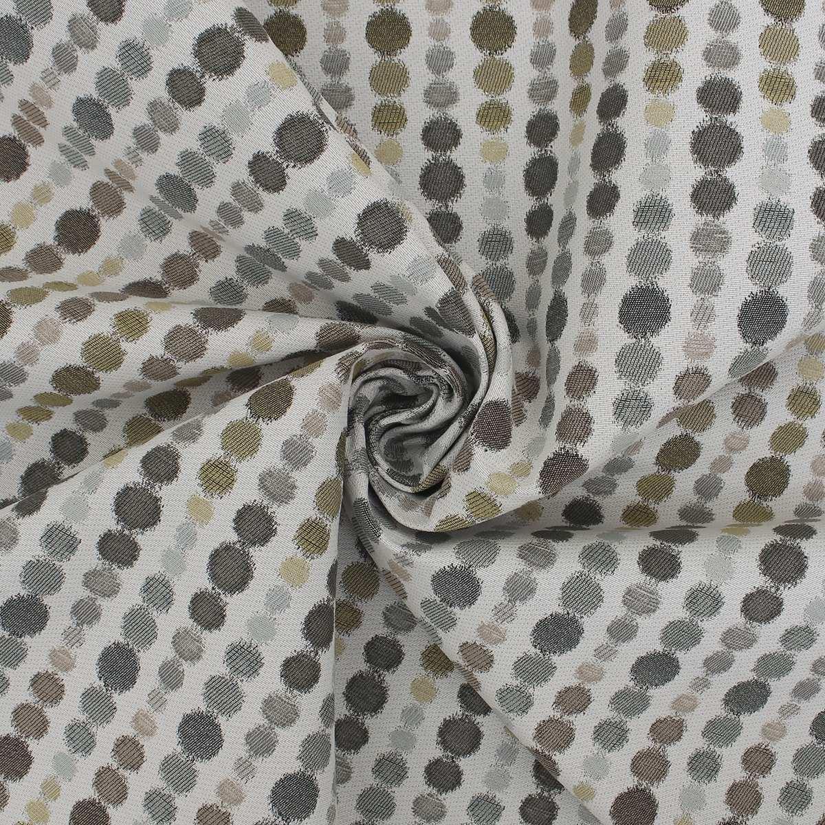 Carlotta Woven Circle Polka Motif Jacquard Upholstery Curtain Fabric 8.5m Roll