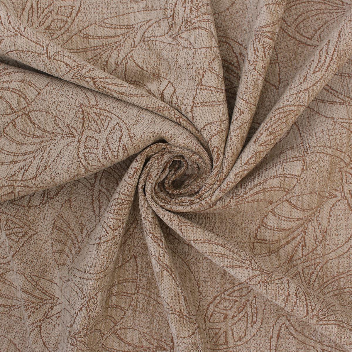 Santina Beige Motorhome Slubbed Chenille Floral Outline Velvet Upholstery Fabric