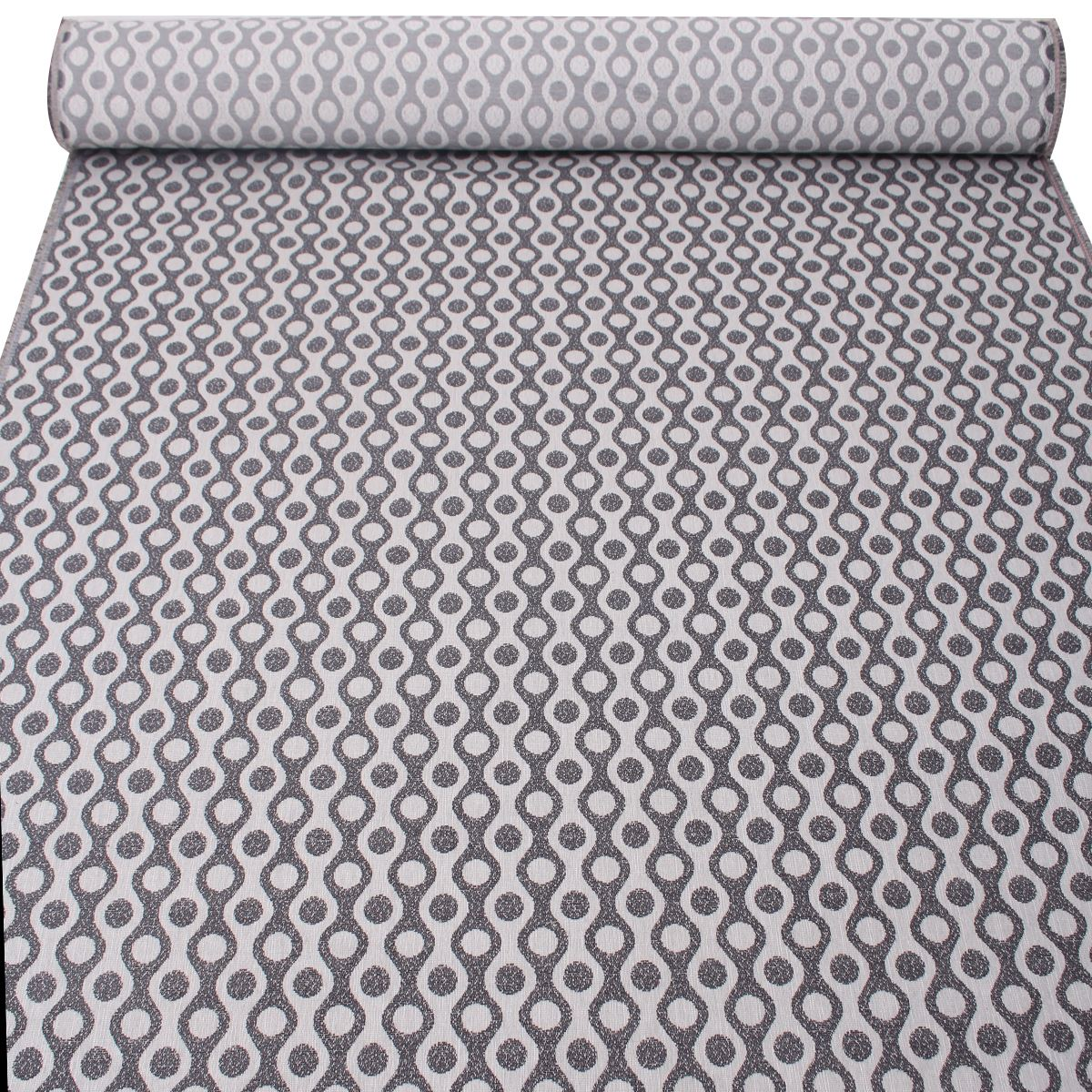 Palace Wave Circle Pattern Woven Textured Chenille Curtain Upholstery Fabric