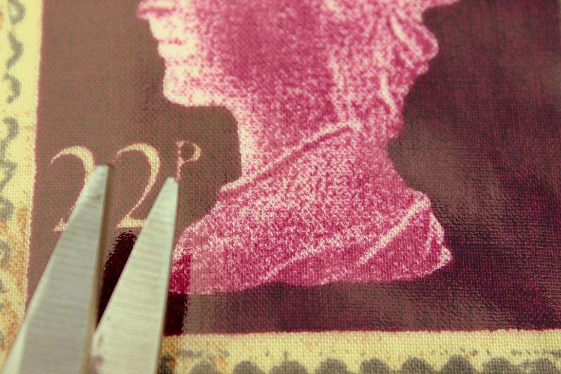 DESIGNER PVC FIRST CLASS BRITISH STAMP PRETIGIOUS OILCLOTH TABLE COVERING FABRIC