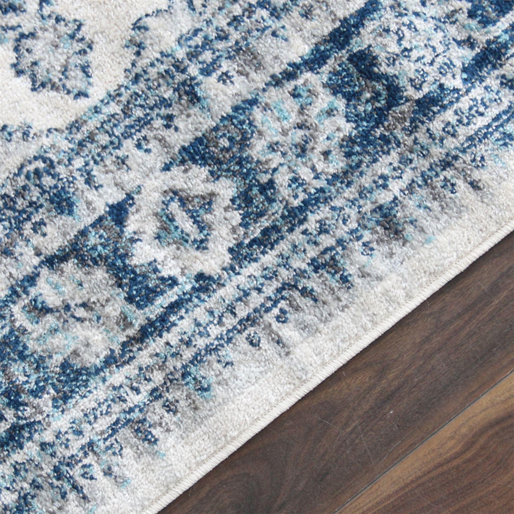 Quality Red Blue Grey Cream Area Carpet Flower Art Hallway Stair Runner Rug