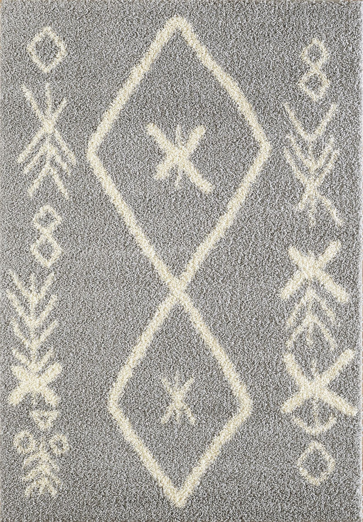 A2Z Rug Large Black White Cream Grey Shaggy Traditional Moroccan Tribal 3cm Pile