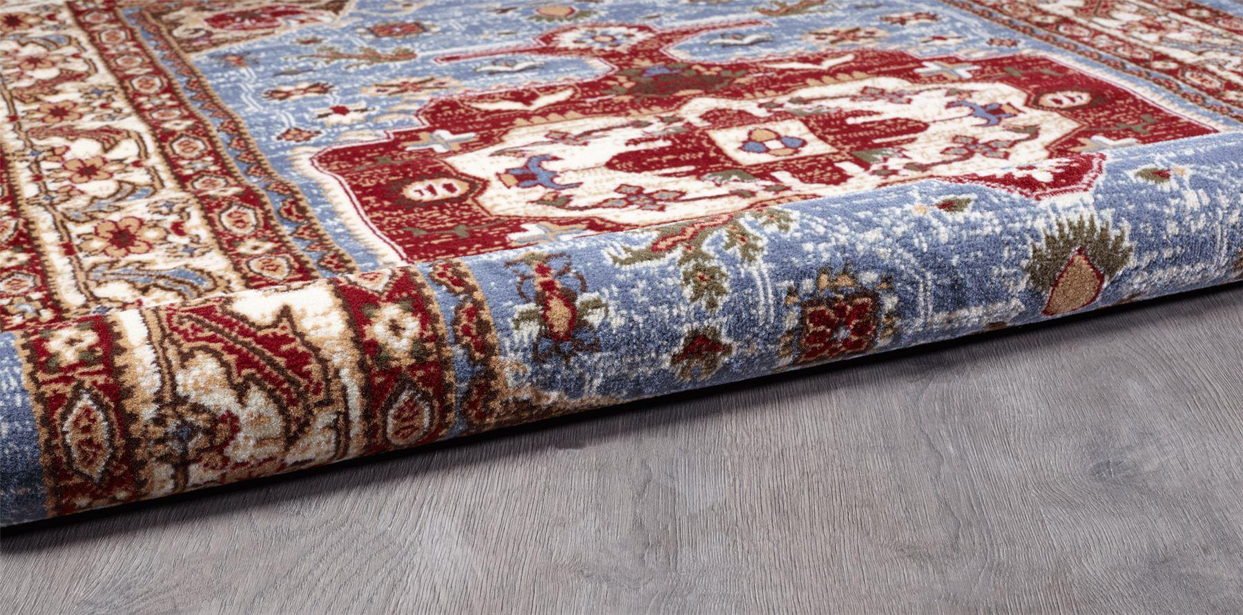 Blue Traditional Persian Carpets Red Medallion Geometric Rugs Cream Oriental Mat