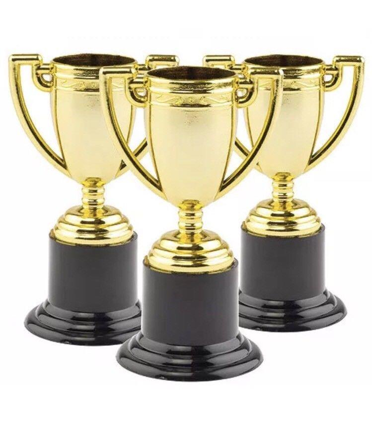 Mini Trophies 10cm Silver and Gold Plastic Party Bag Filler
