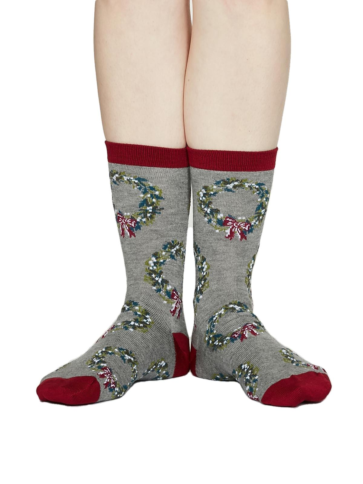 Ladies Soft Bamboo Adella Bamboo Christmas Wreath Socks Size 4-7 by Thought
