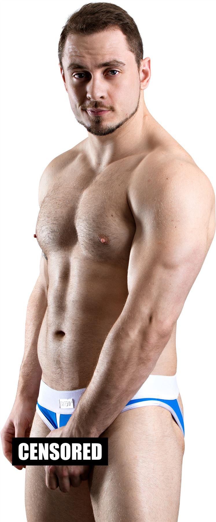 Sukrew Men/'s Alabas UV Brief Open front No Pouch Peep Hole Slip Bikini