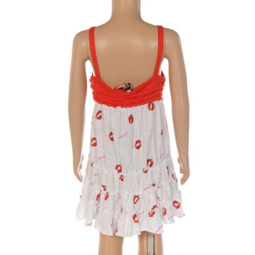 Miss Sixty Robe en coton blanc /& lèvres rouge imprimé taille 4-14 ans