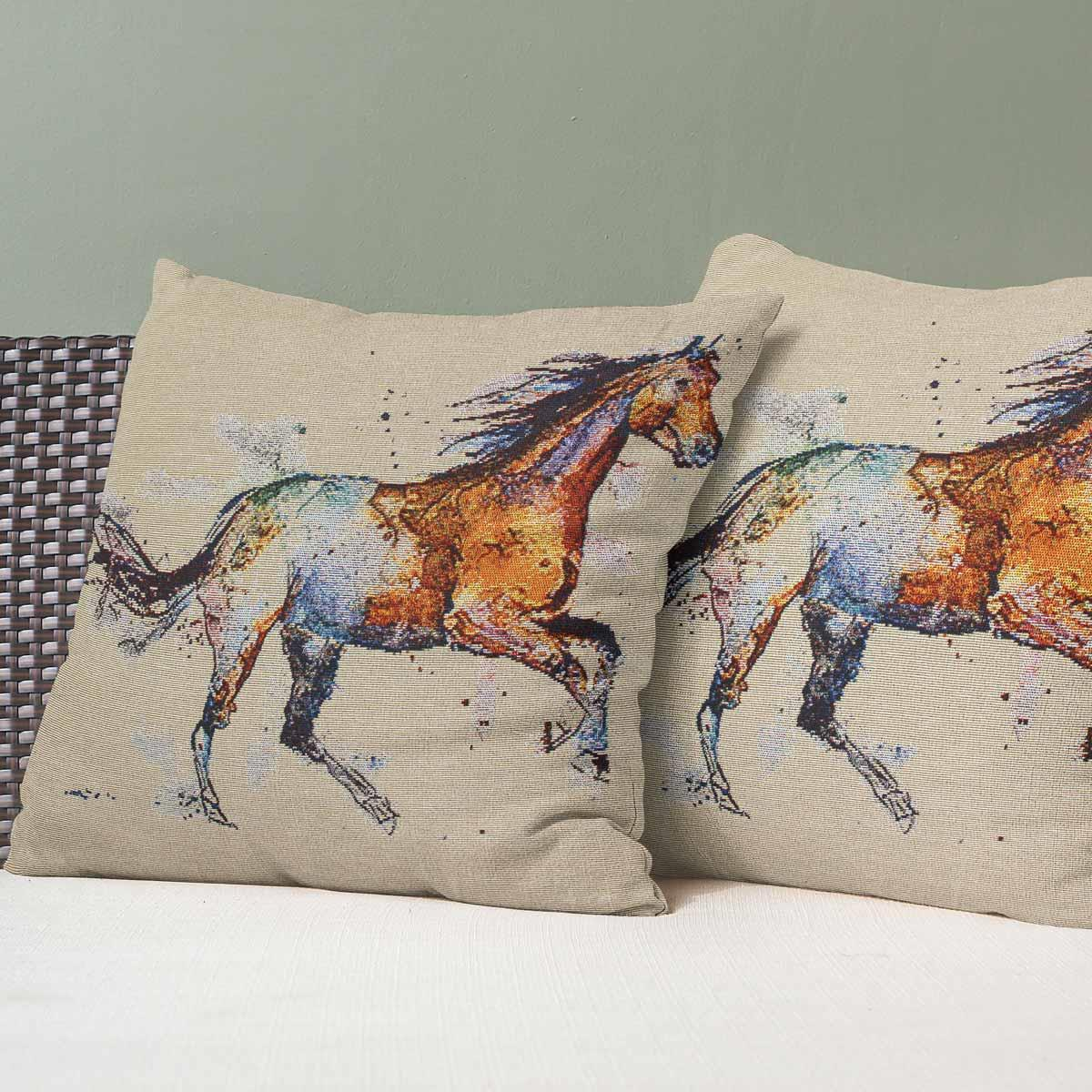 """Set of 2 Cushion Covers Tapestry Watercolour Seaside Beach Cover Pairs 18/"""" x 18/"""""""