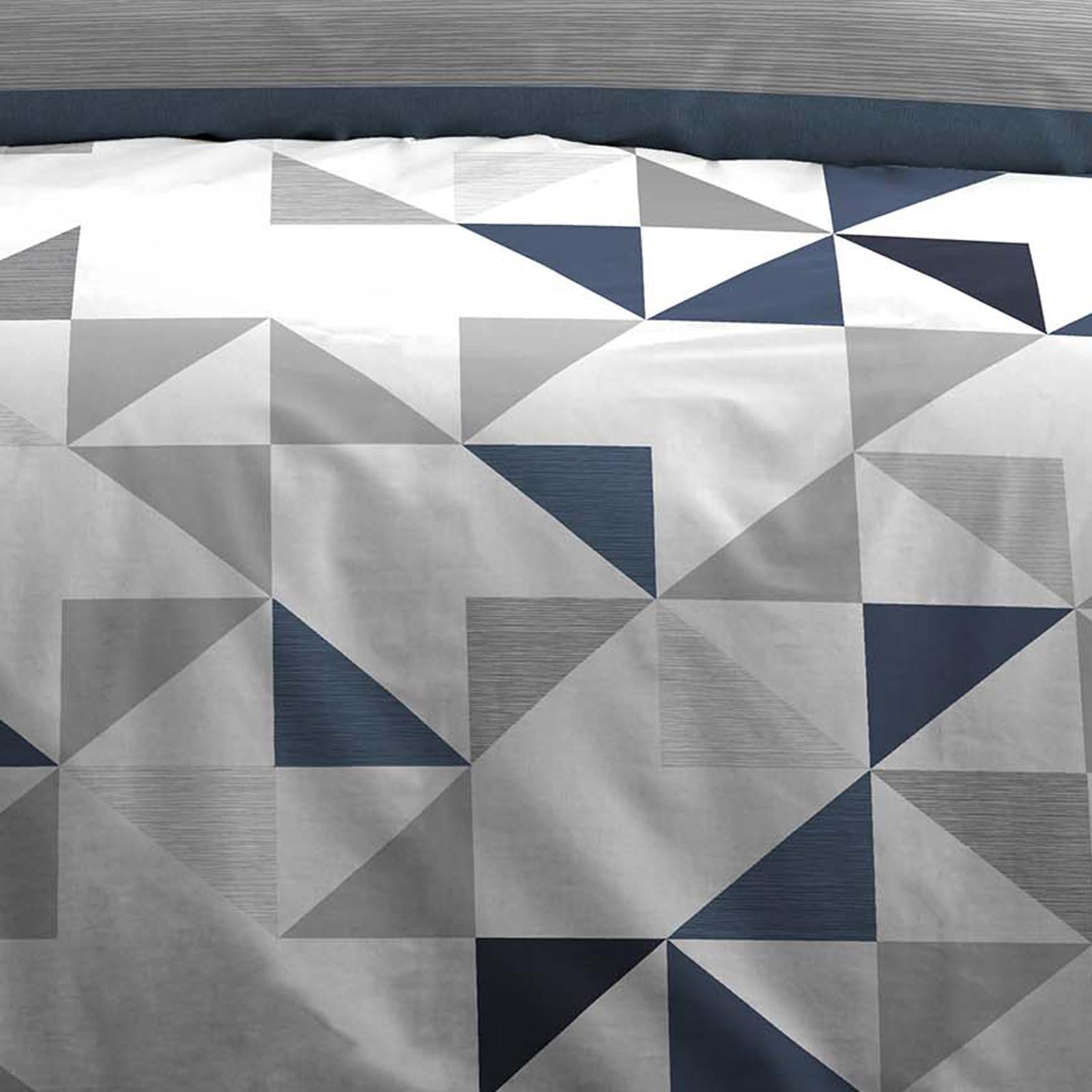 Bleu Housses De Couette Géométrique Rayures Réversible Imprimé avec Housse de couette Ensembles De Literie