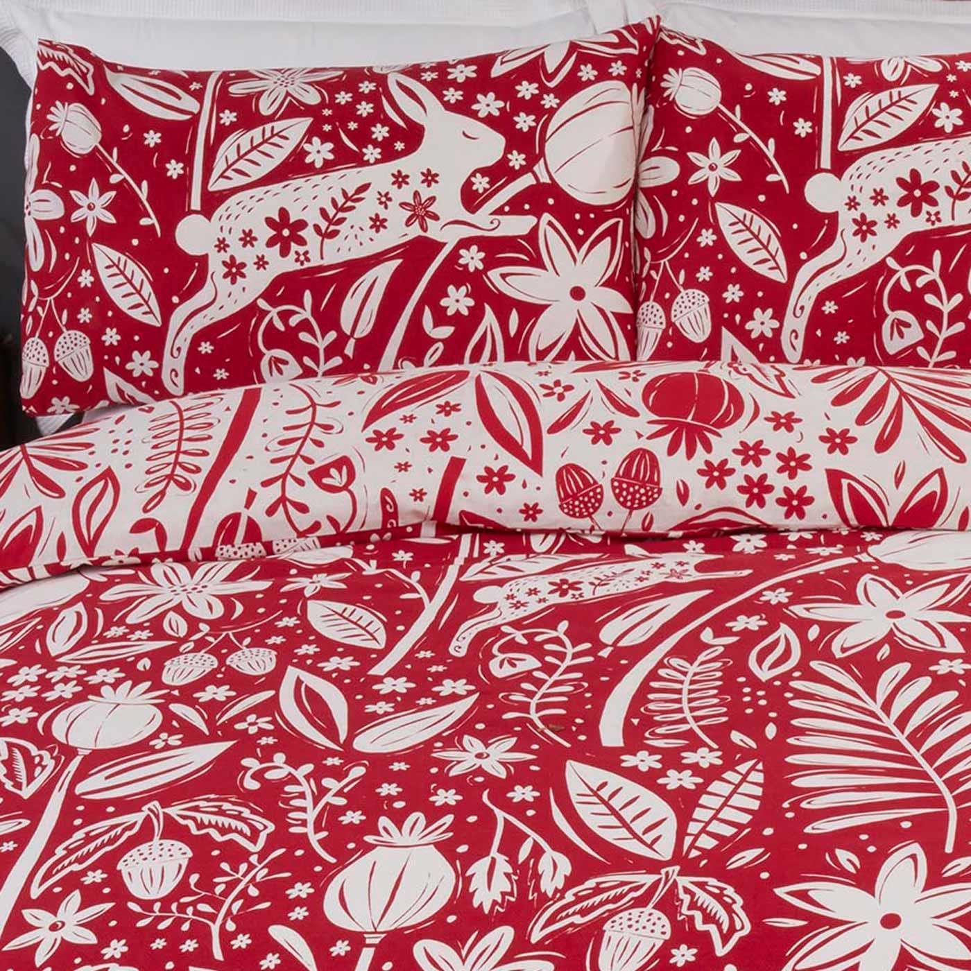 Rouge Housses De Couette Woodland Animaux Nordic lapin forêt avec Housse de couette Ensembles De Literie