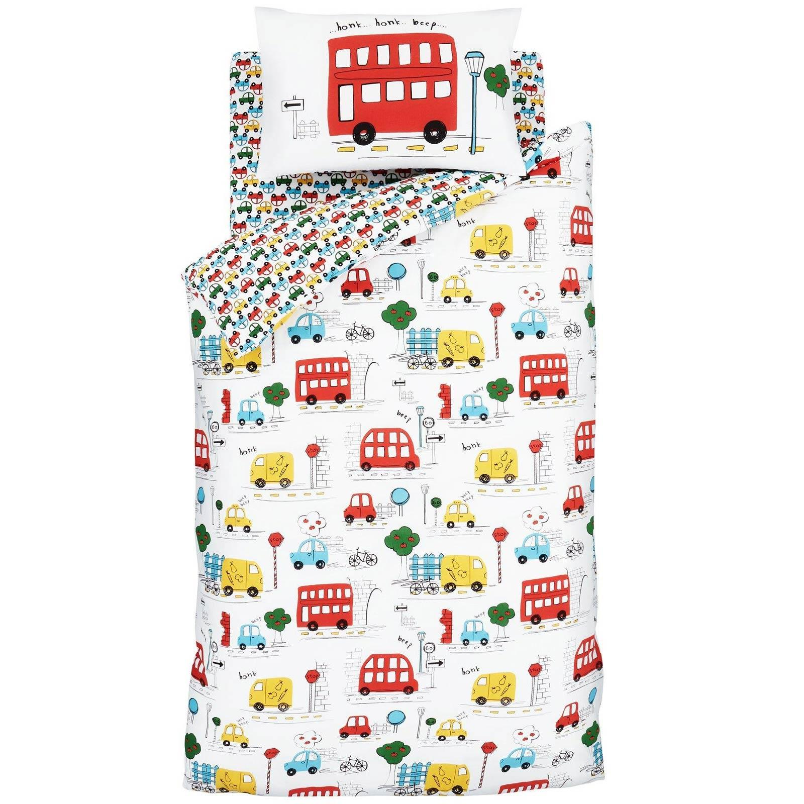 Catherine Lansfield Transport Bright Duvet Covers Cars Kids Quilt Bedding Sets