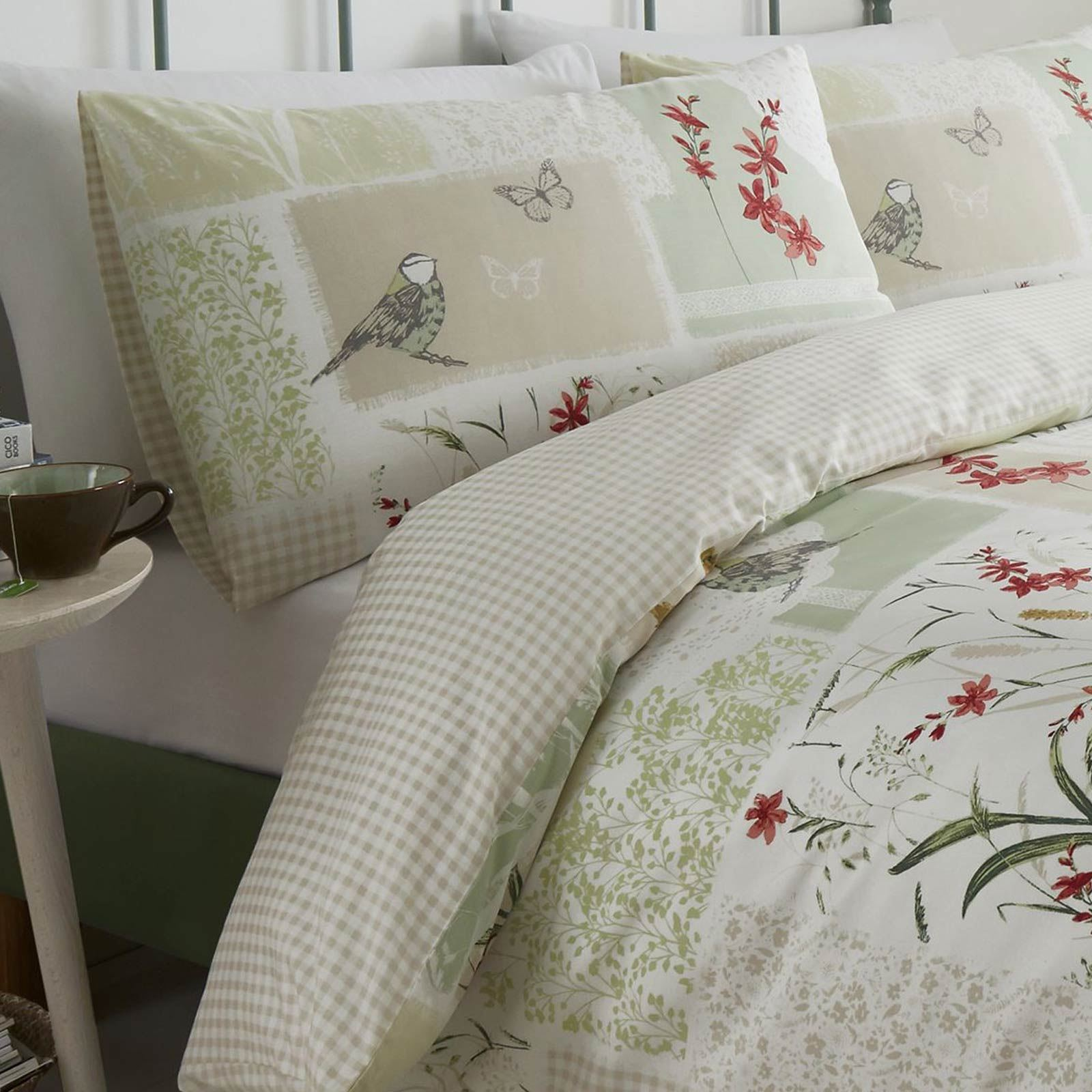 Green Duvet Covers Dionne Floral Patchwork Printed Easy Care Quilt Bedding Sets