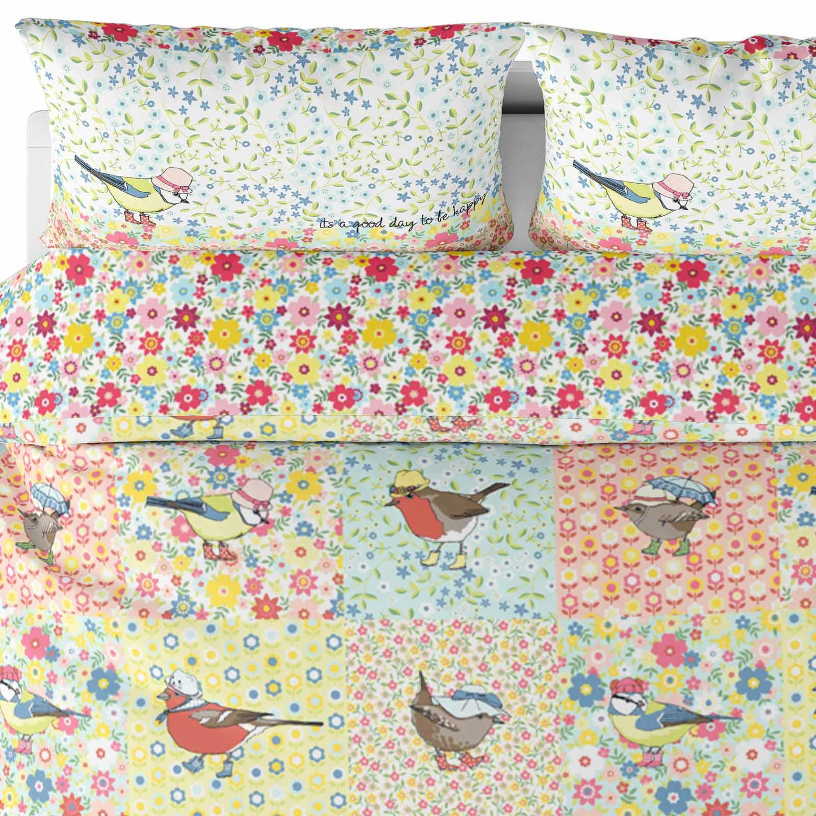 Floral Housses De Couette Birdy Patchwork multi réversible avec Housse de couette Ensembles De Literie