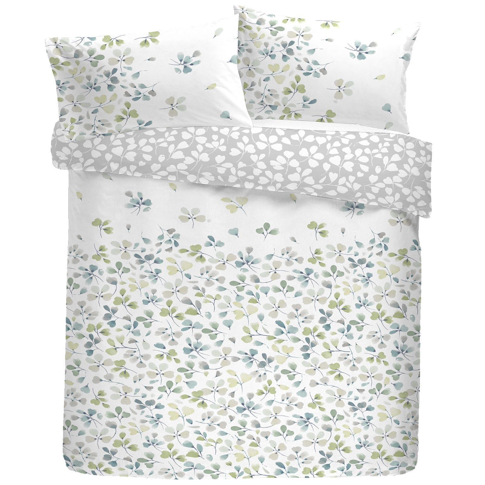 Green Housses De Couette Motif Floral Fleurs Imprimé Blanc Réversible Avec Housse De Couette Ensemble De Literie