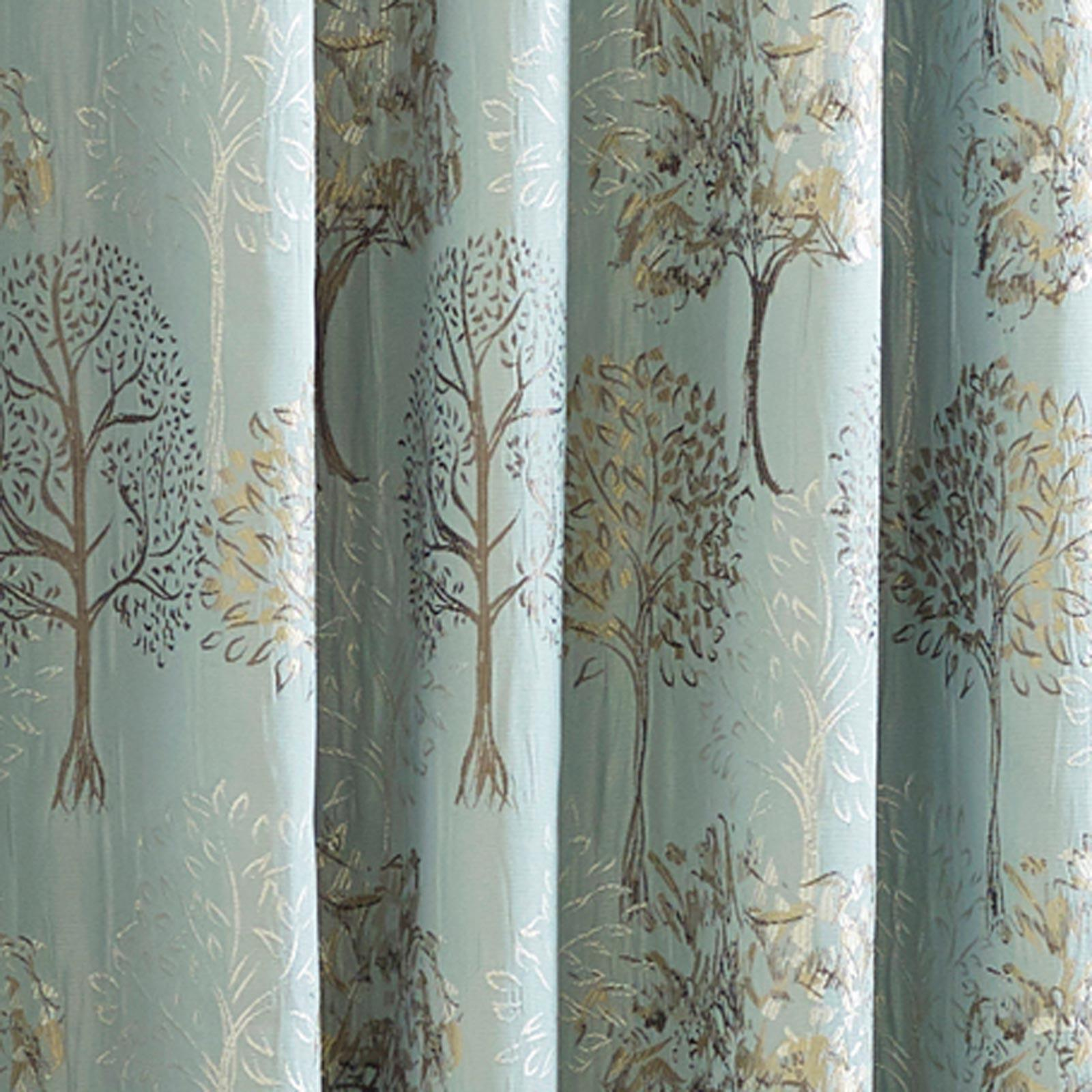 Duck Egg Lined Curtains Tape Top Jacquard Blue Ready Made Pencil Pleat Pairs
