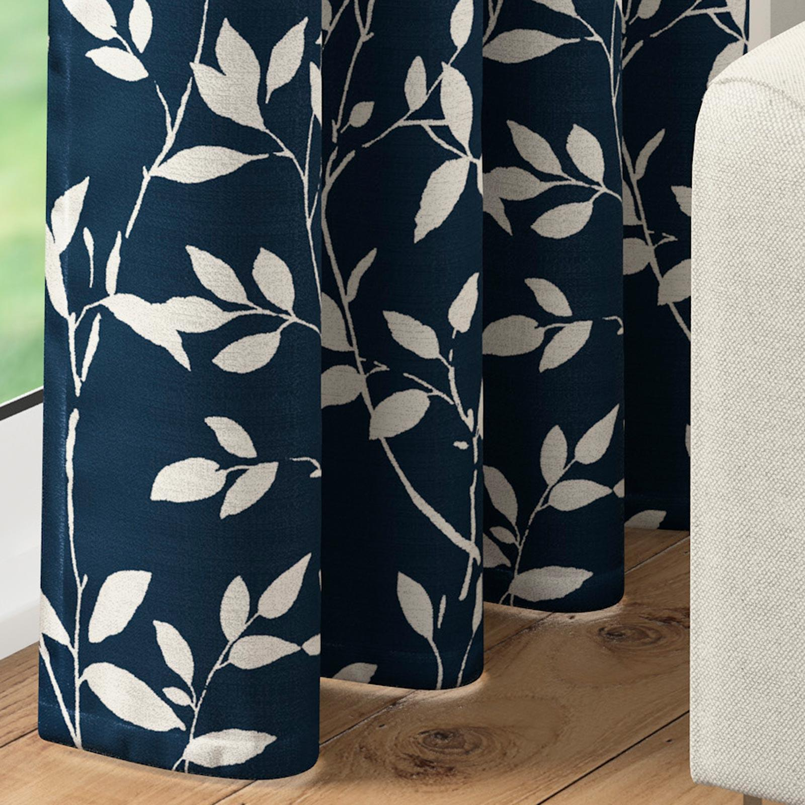 Blue Curtain Panel Navy Leaf Modern Woven Eyelet Panels Ring Top Voiles