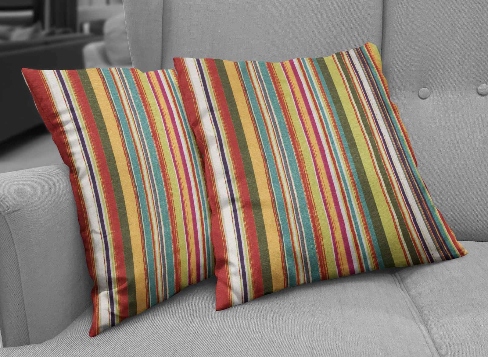 Set of 2 Cushion Covers Chenille Stripe Tropical Cushion Covers Pairs Collection