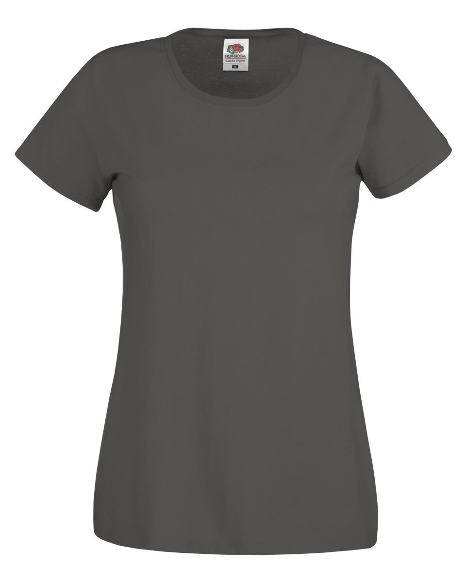 Fruit Of The Loom Womens Lady Fit Original Plain Rounded Neck T-Shirt Tee Tshirt