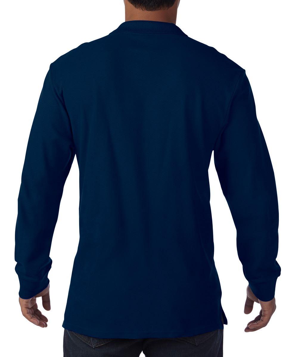 Gildan GD048 Mens Premium Long Sleeves Double Pique Polo Smart Fit T-shirts Tops