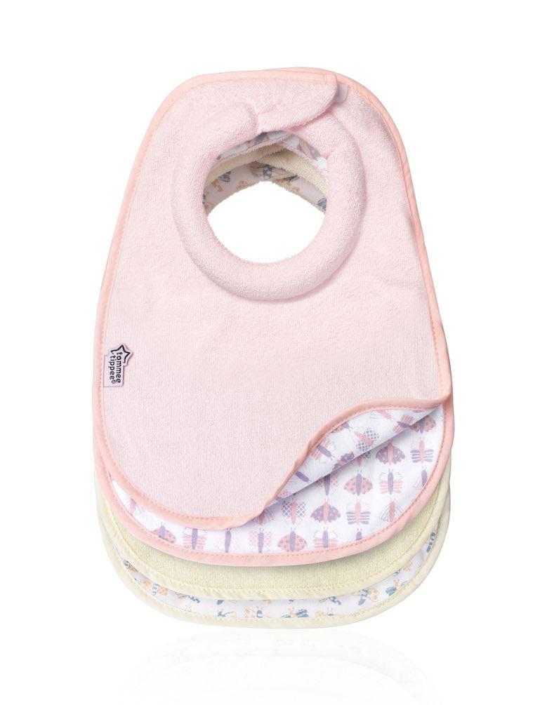 Tommee Tippee 4 Milk Feeding Bibs Pink /& Beige 1 2 3 6 12 Cases