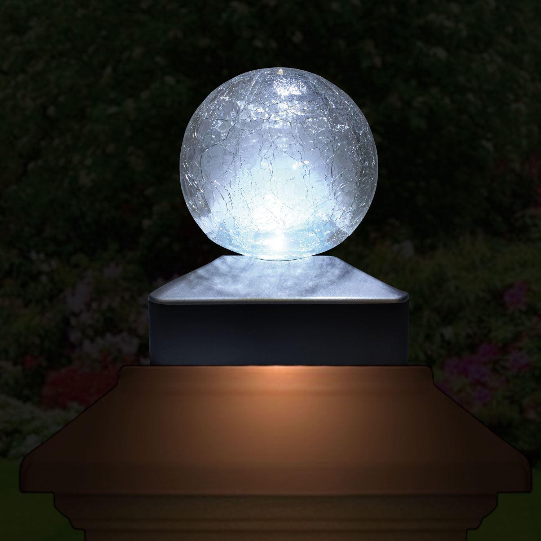 Solar Crackle Glass Ball Giardino Deck Cap quadrato bianco//colori cangianti LED Luci