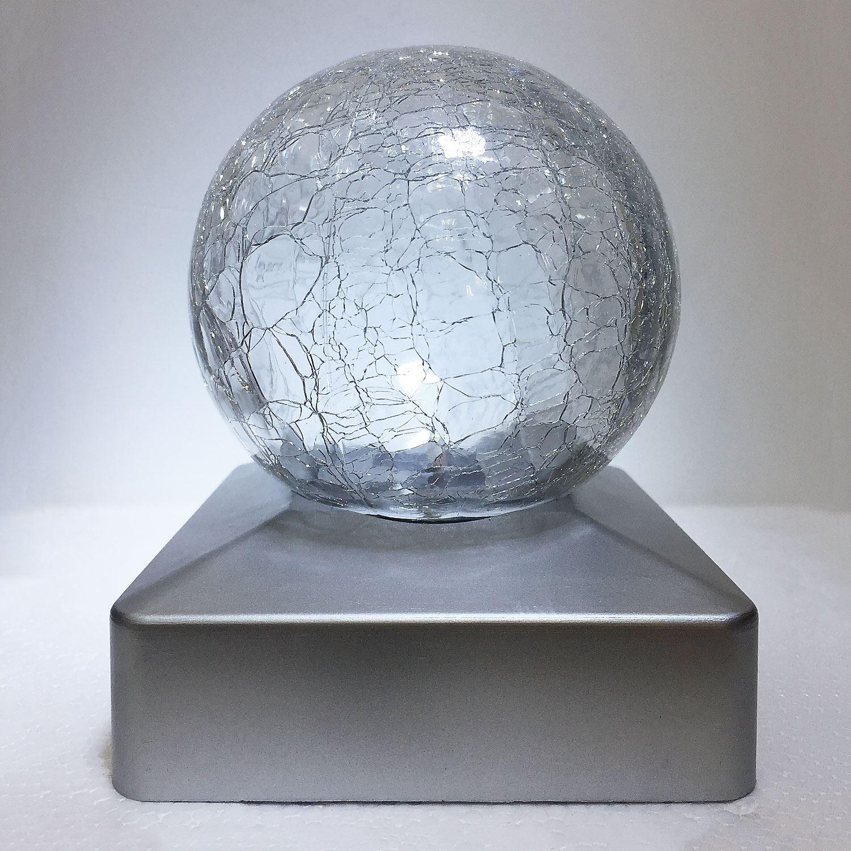 Solar Crackle Glass Ball Garden Deck Cap Square White//Colour Changing Led Lights