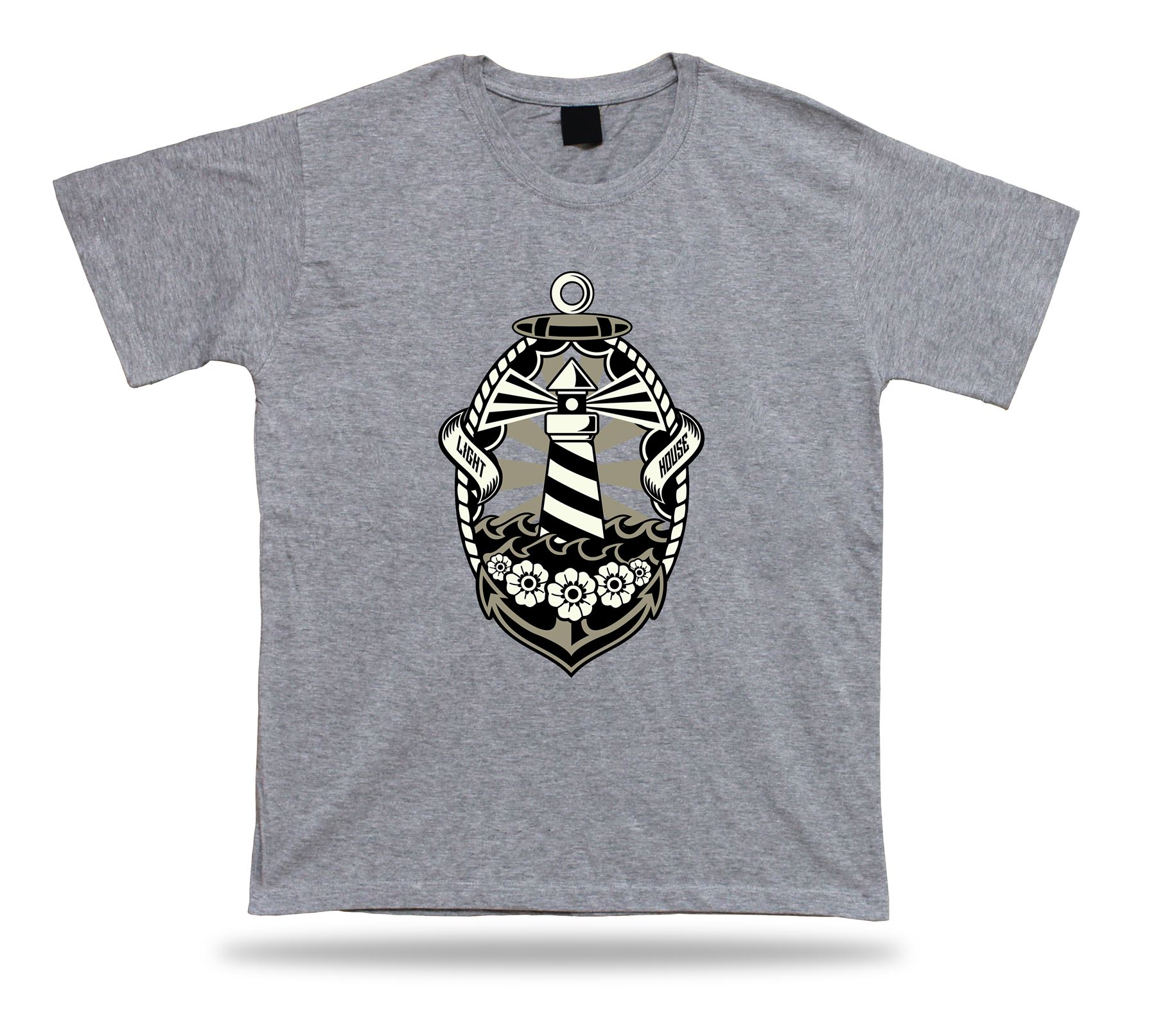 Lighthouse Floral Sea Anchor cool t shirt modern design birthday present tee