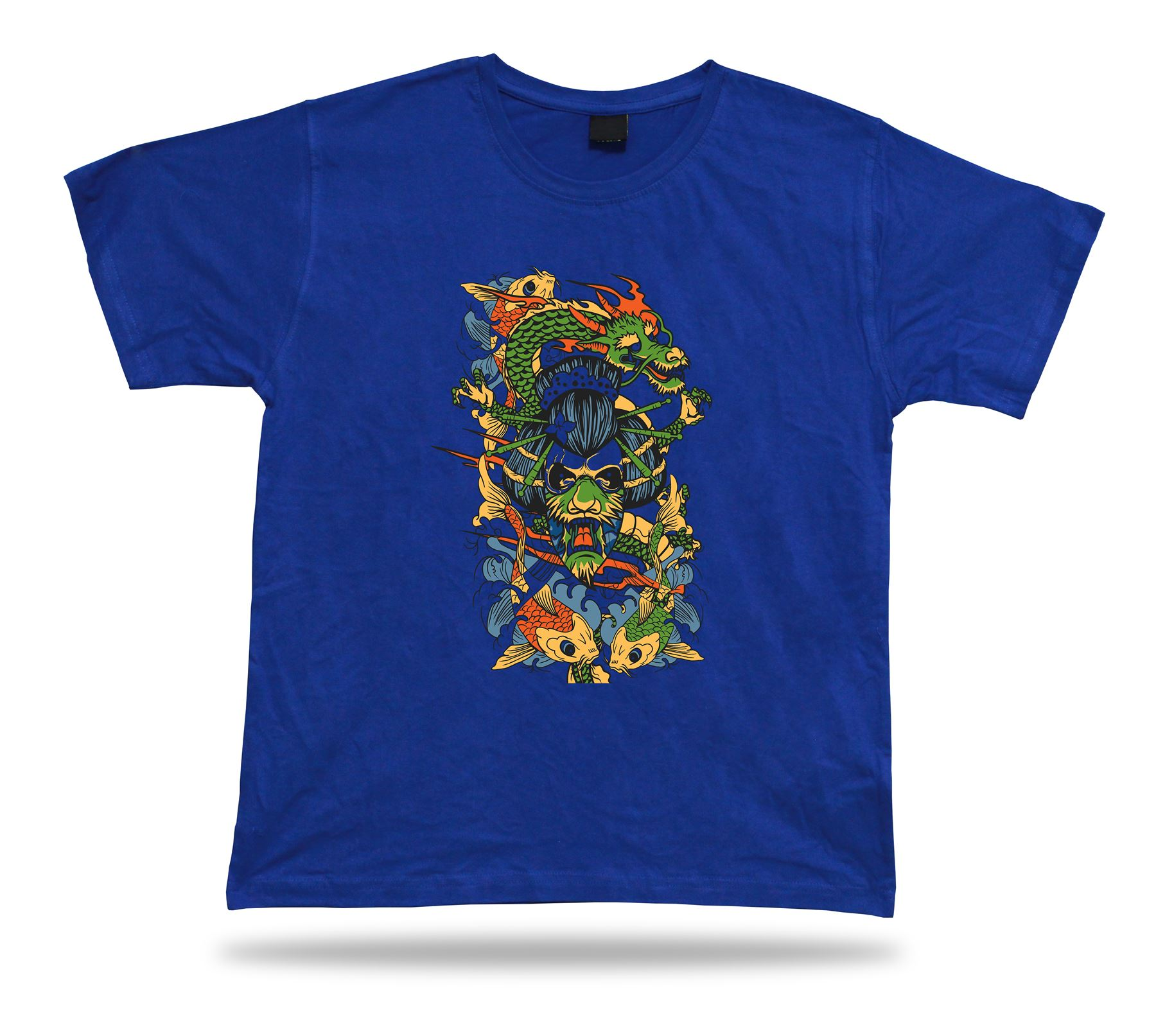 Japanese Dragon Kabuki Mask Koi Fish tshirt design cartoon tee special gift