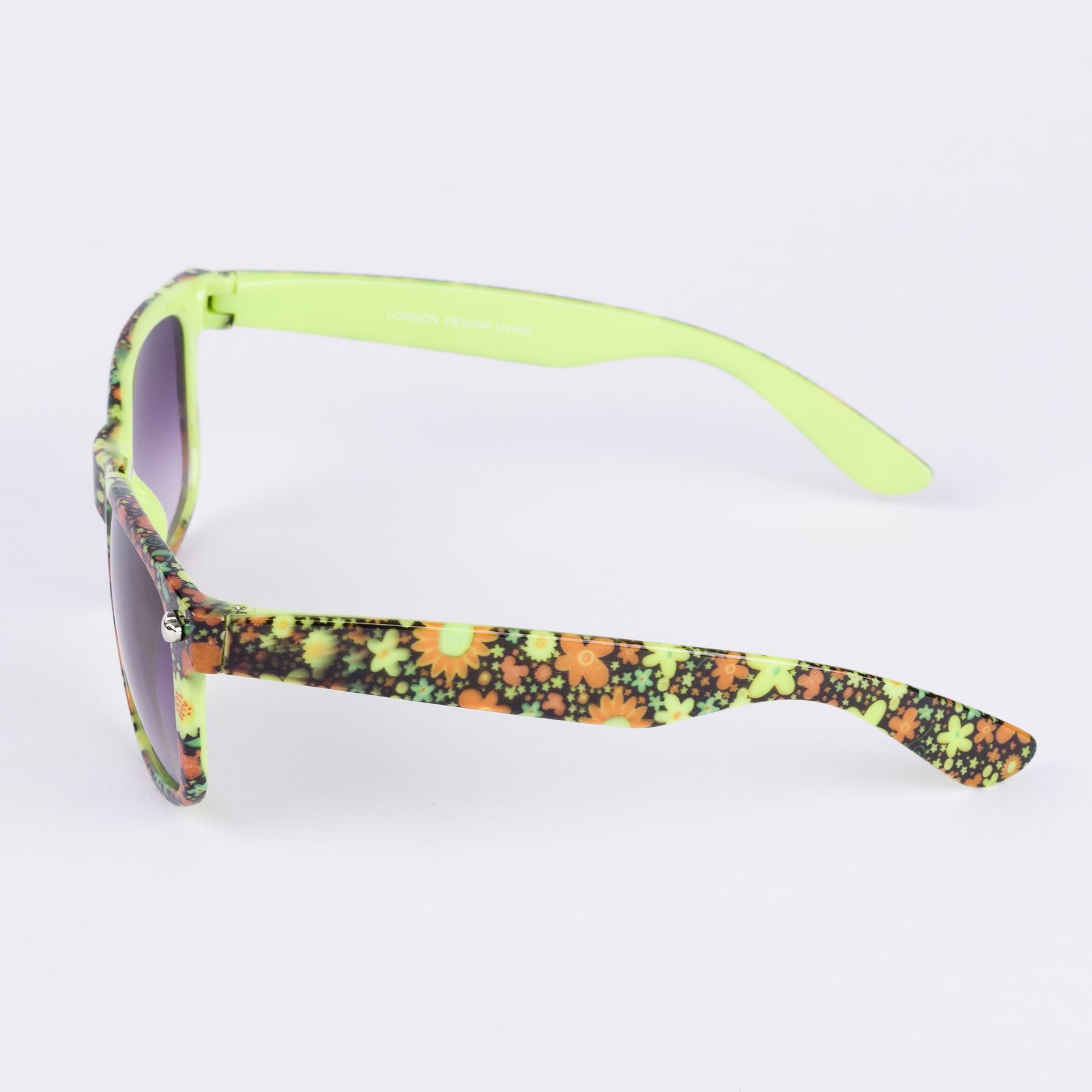 Horn-Rimmed 50/'s Style Sunglasses With Floral Pattern