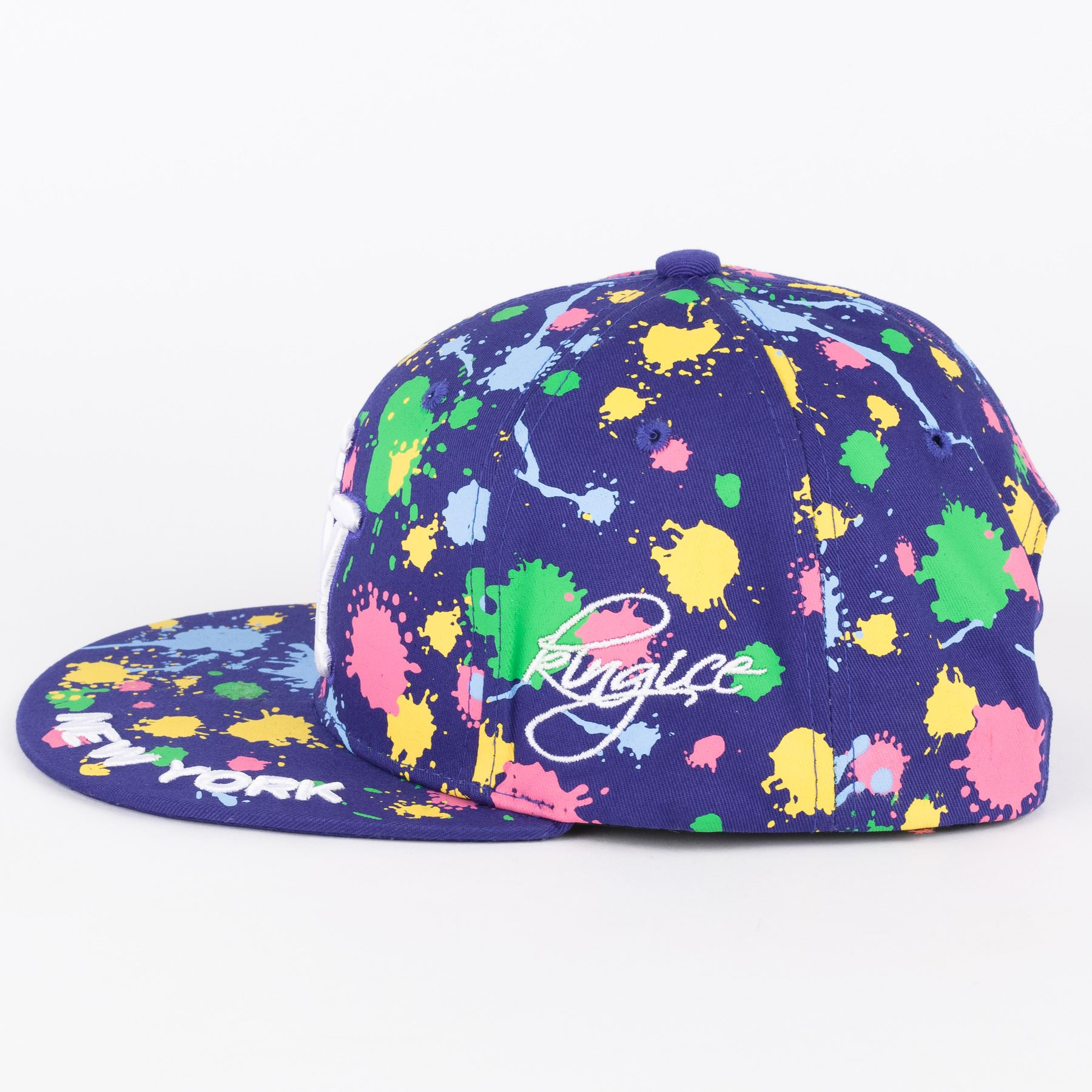 NY on Paint Splash Snapback Embroidered Hip hop Hat