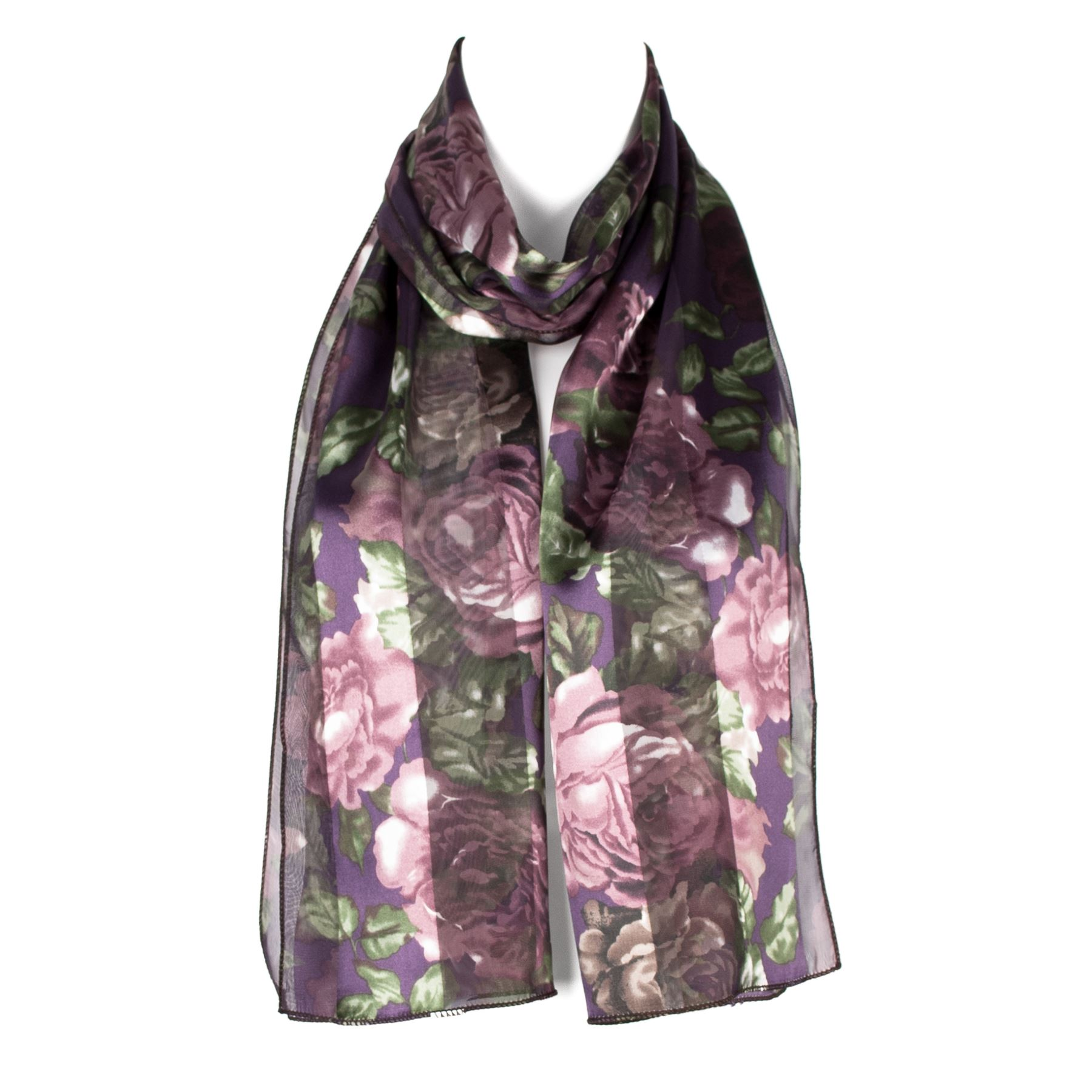 Chiffon Satin Ladies Womens Flower Pattern Scarf Wrap