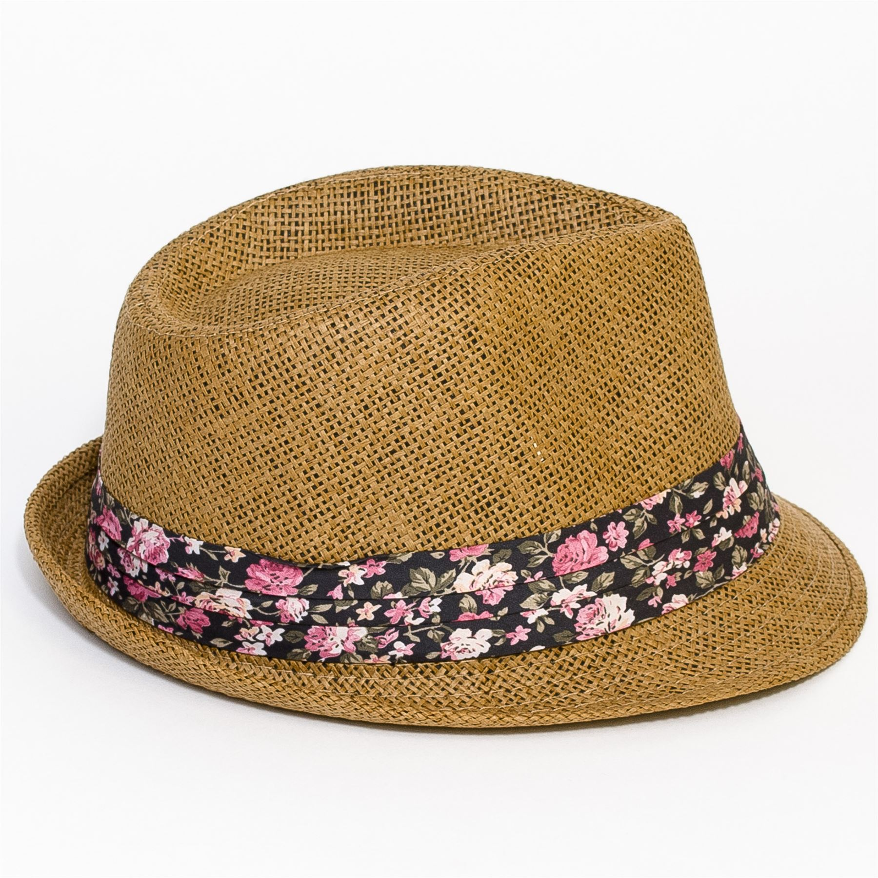 Trilby Hat with Flower Printed Band