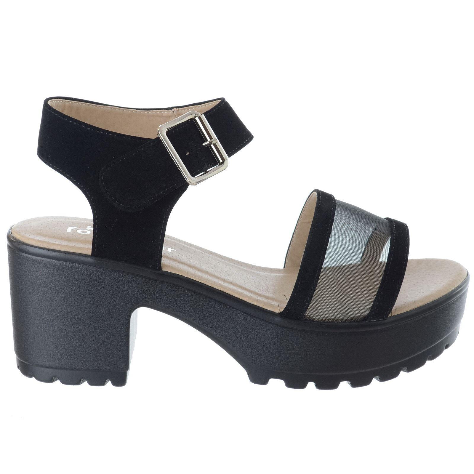 Womens Ladies Low Mid Block Heel Ankle Strap Mesh Platform Sandals Shoes Size