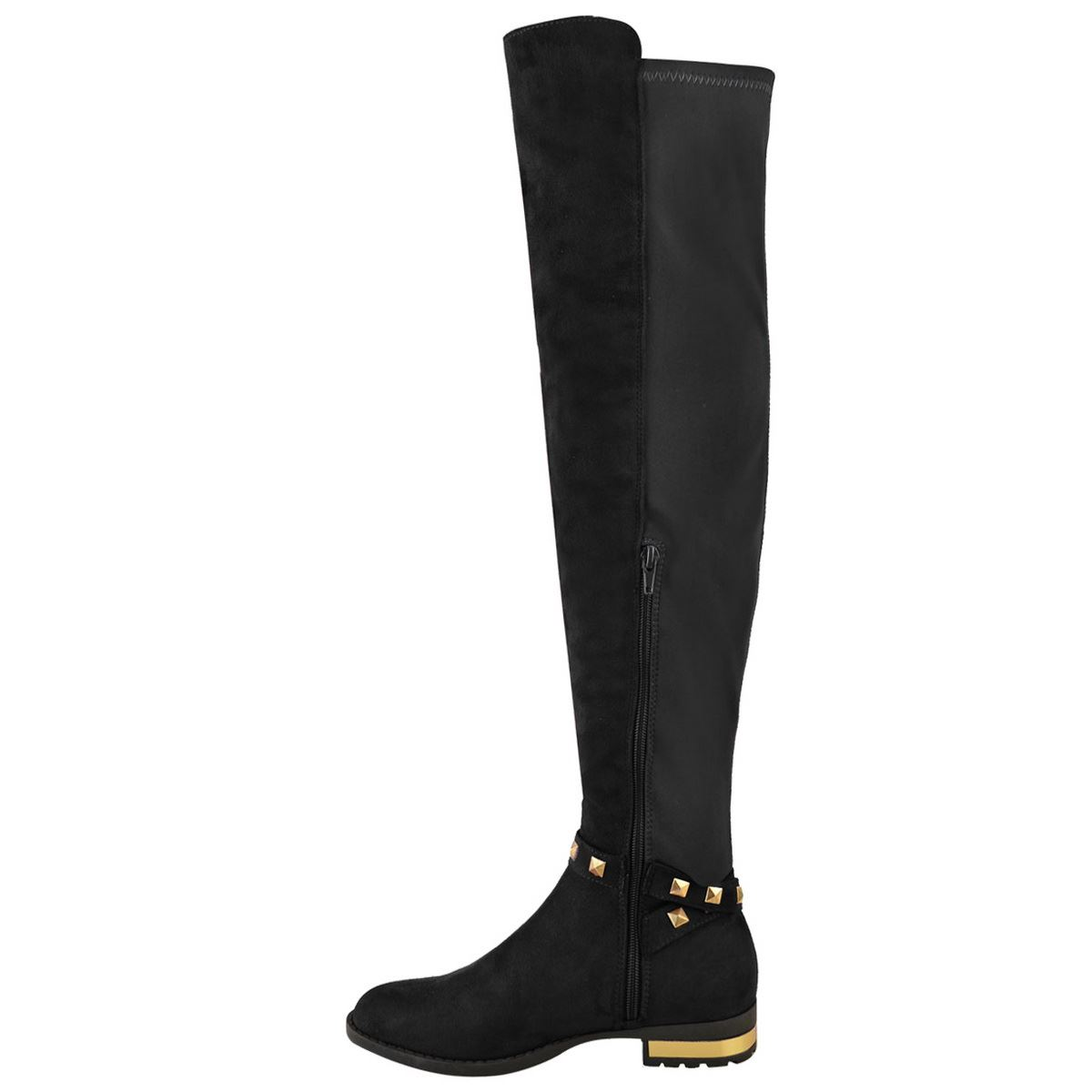 Ladies Womens Flat Heel Over The Knee Thigh High Boots Studded Zip Stretch Size