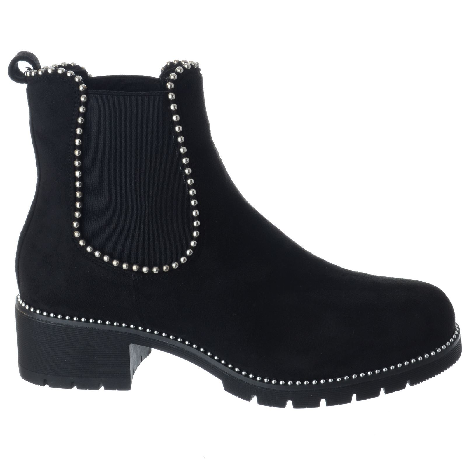 LADIES WOMENS GIRLS FLAT CHUNKY BIKER STUDDED SHOES CHELSEA ANKLE BOOTS SIZE