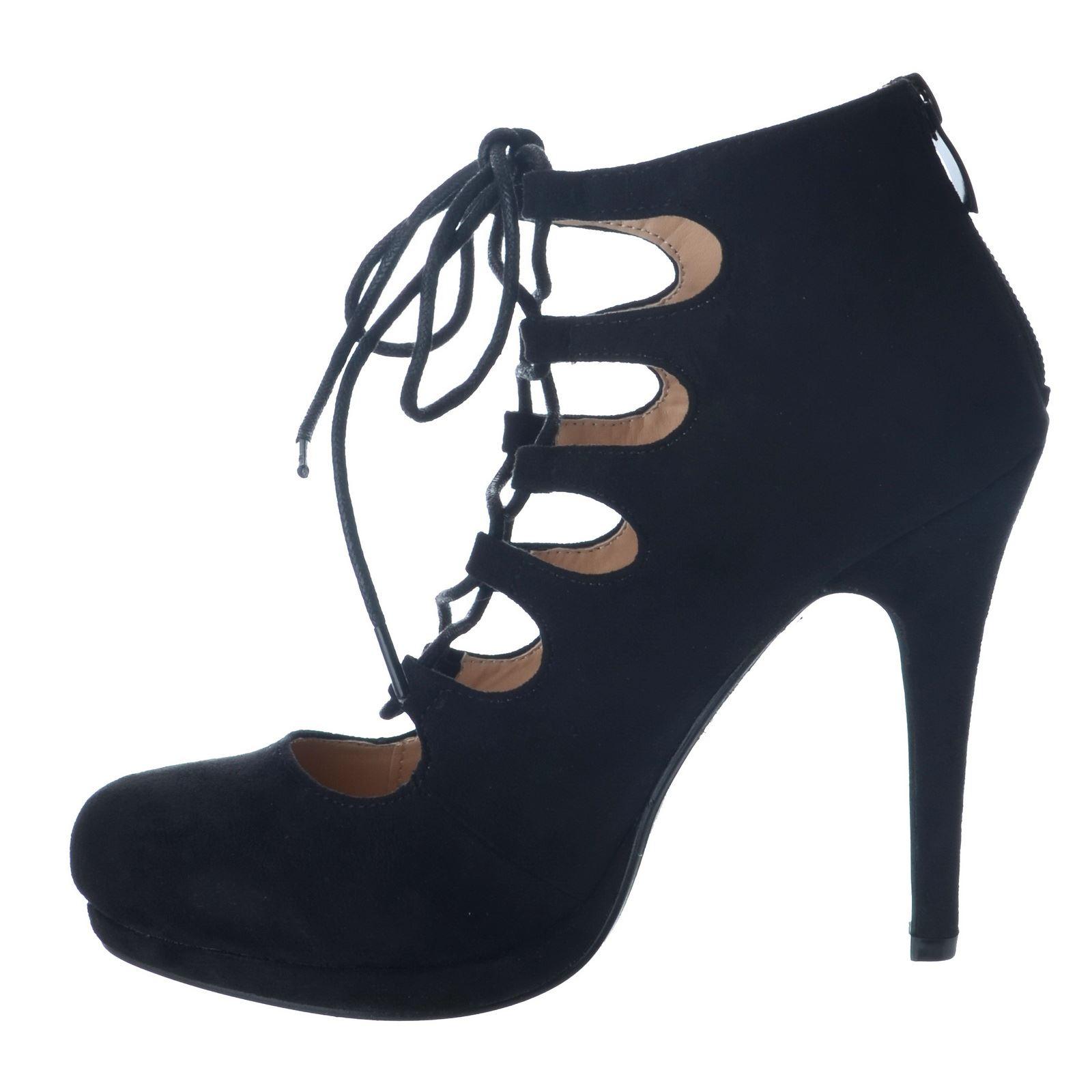 Femmes neuf talon haut gladiateur plateforme zip tie à lacets chaussures taille