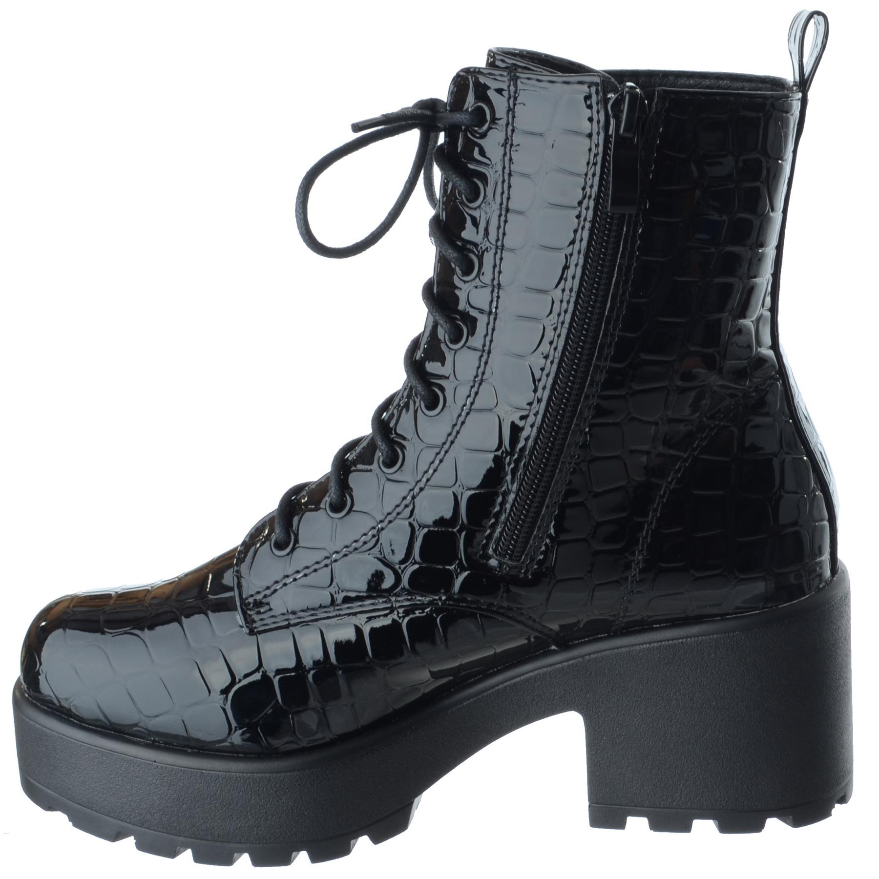 WOMENS LADIES CHUNKY ARMY COMBAT PLATFORM LACE ZIP UP PLATFORM ANKLE BOOTS SHOES