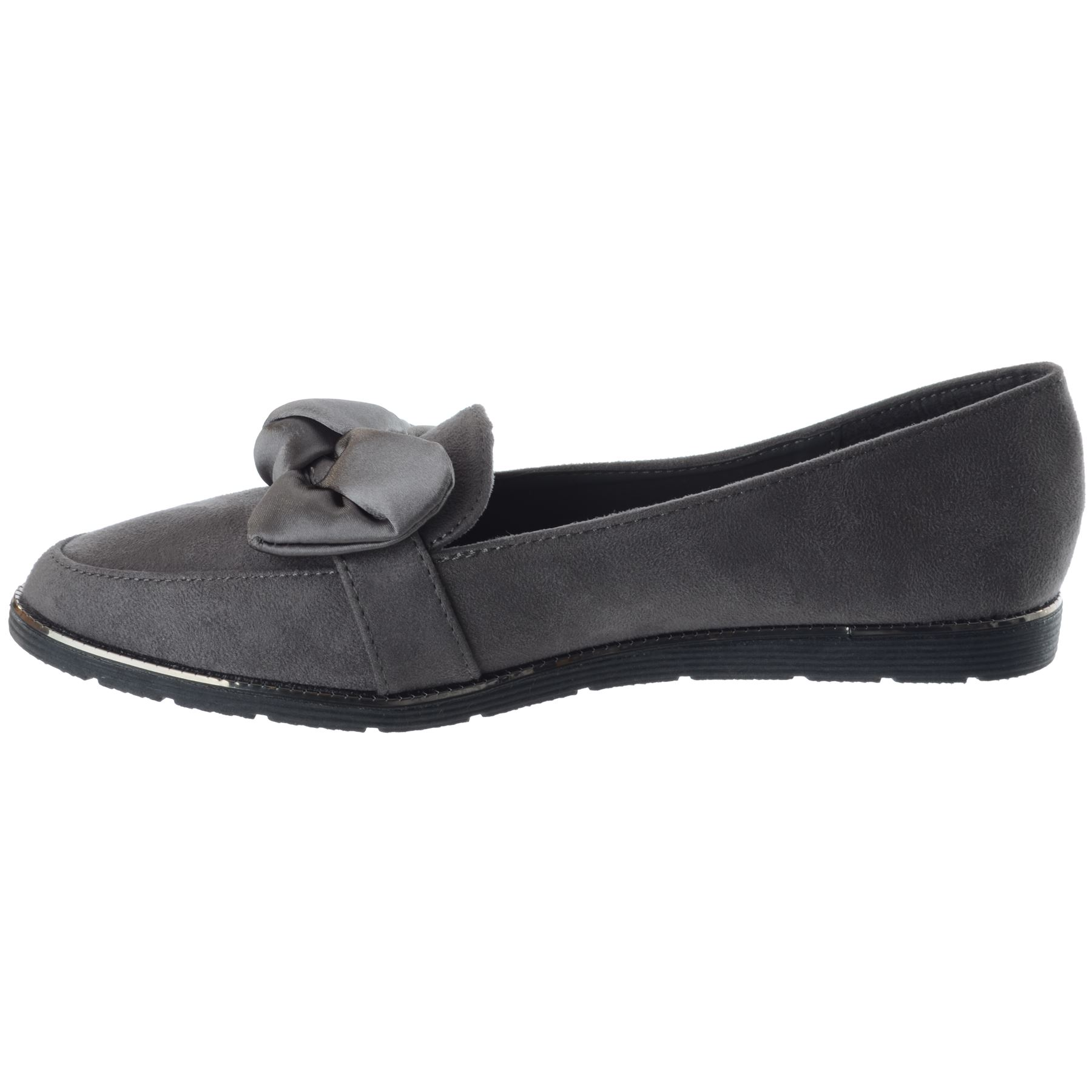 New Womens Ladies Flat Low Heel Work Office Comfy Bow Slip On Loafers Shoes Size