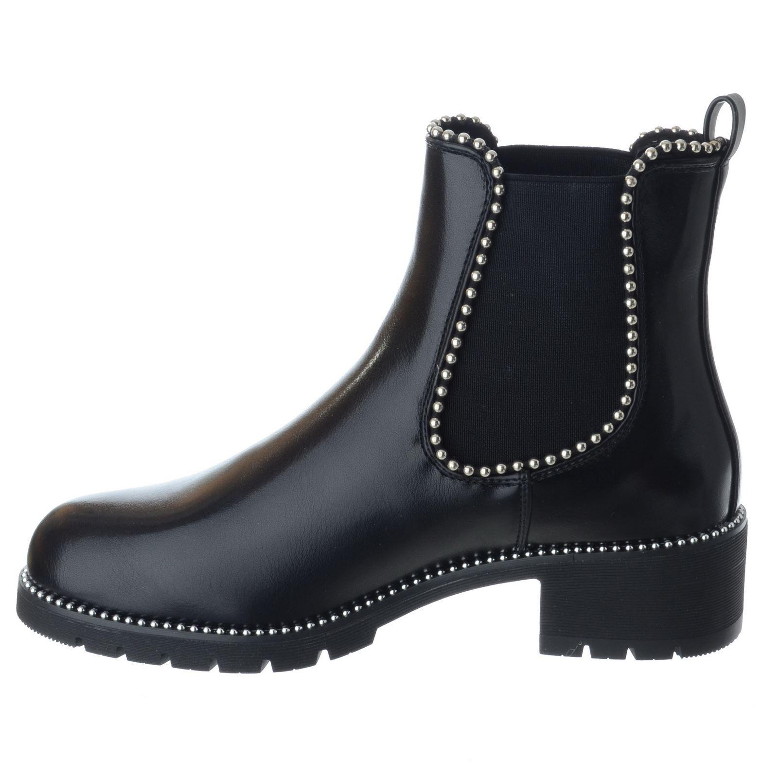 Femme Bas Bloc Talon Massif Semelle Chelsea Cloutées Bottines Chaussures Pointure