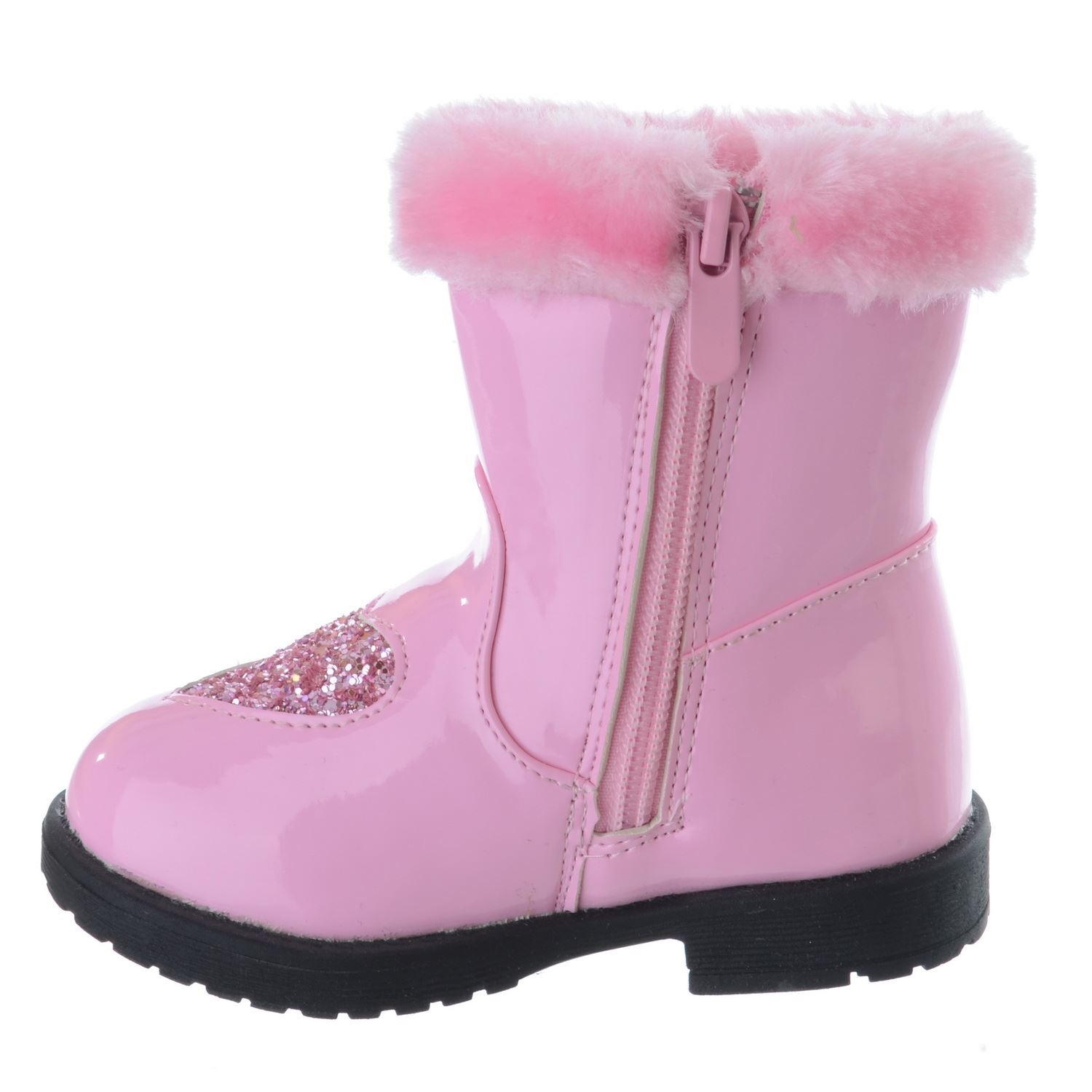 INFANTS TODDLER GIRLS GLITTER HEART WARM FUR LINED ZIP UP ANKLE BOOTS SHOES SIZE