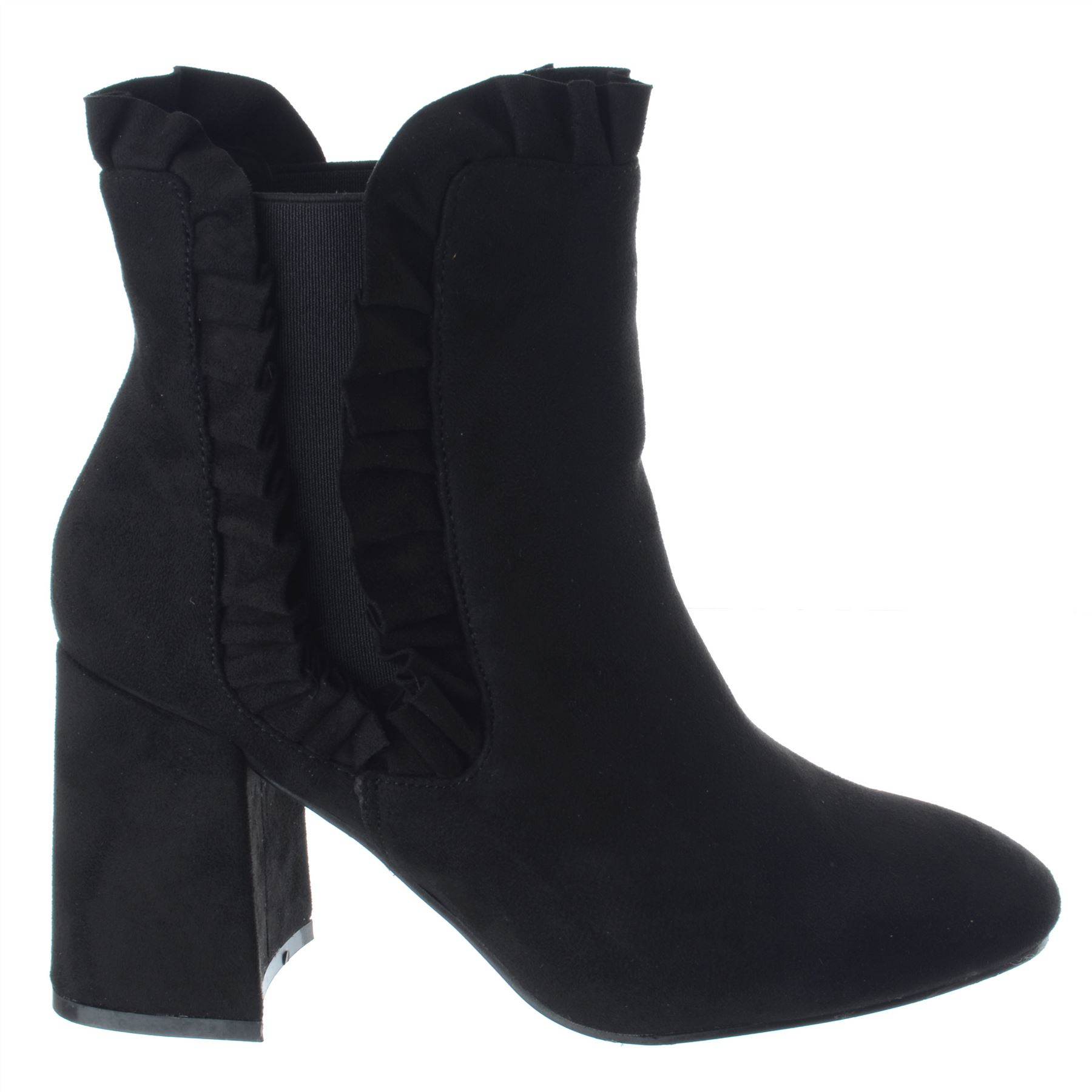 New Womens Ladies Pull On High Block Heel Ruffled Chelsea Ankle Boots Shoes Size