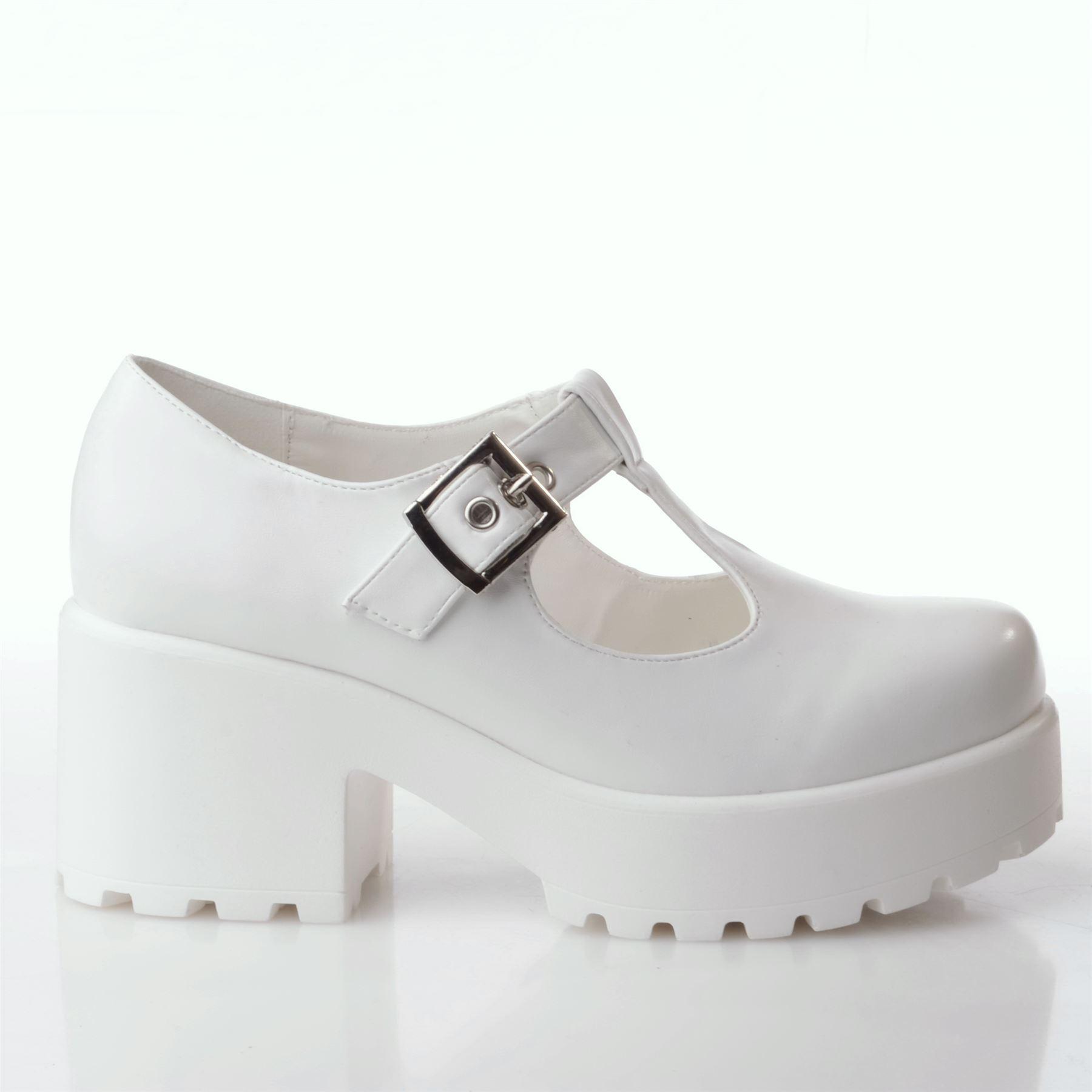 Nouveau Femme Chunky Talon Bloc Plateforme T Bar Cut Out Boucle Chaussures Taille