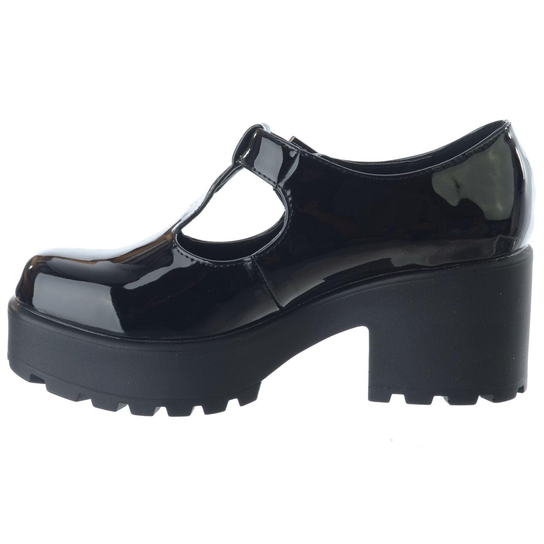 New Ladies Womens Chunky Mid High Block Heel T-Bar Platform Mary Jane Shoes Size