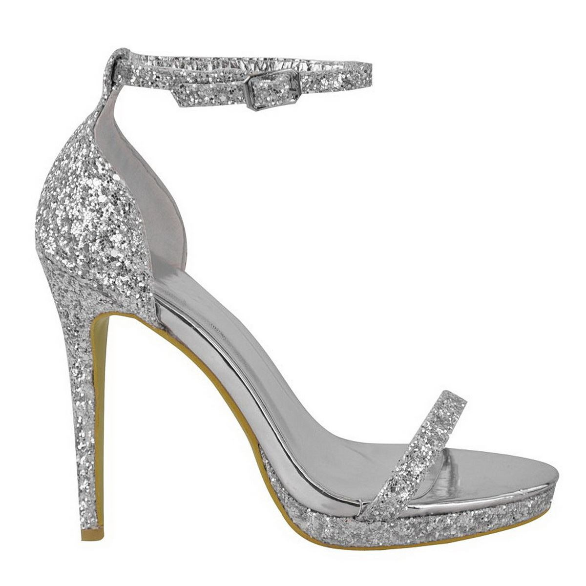 NEW LADIES WOMENS SHINY GLITTER HIGH HEELS ANKLE STRAP PLATFORM PARTY SHOES SIZE