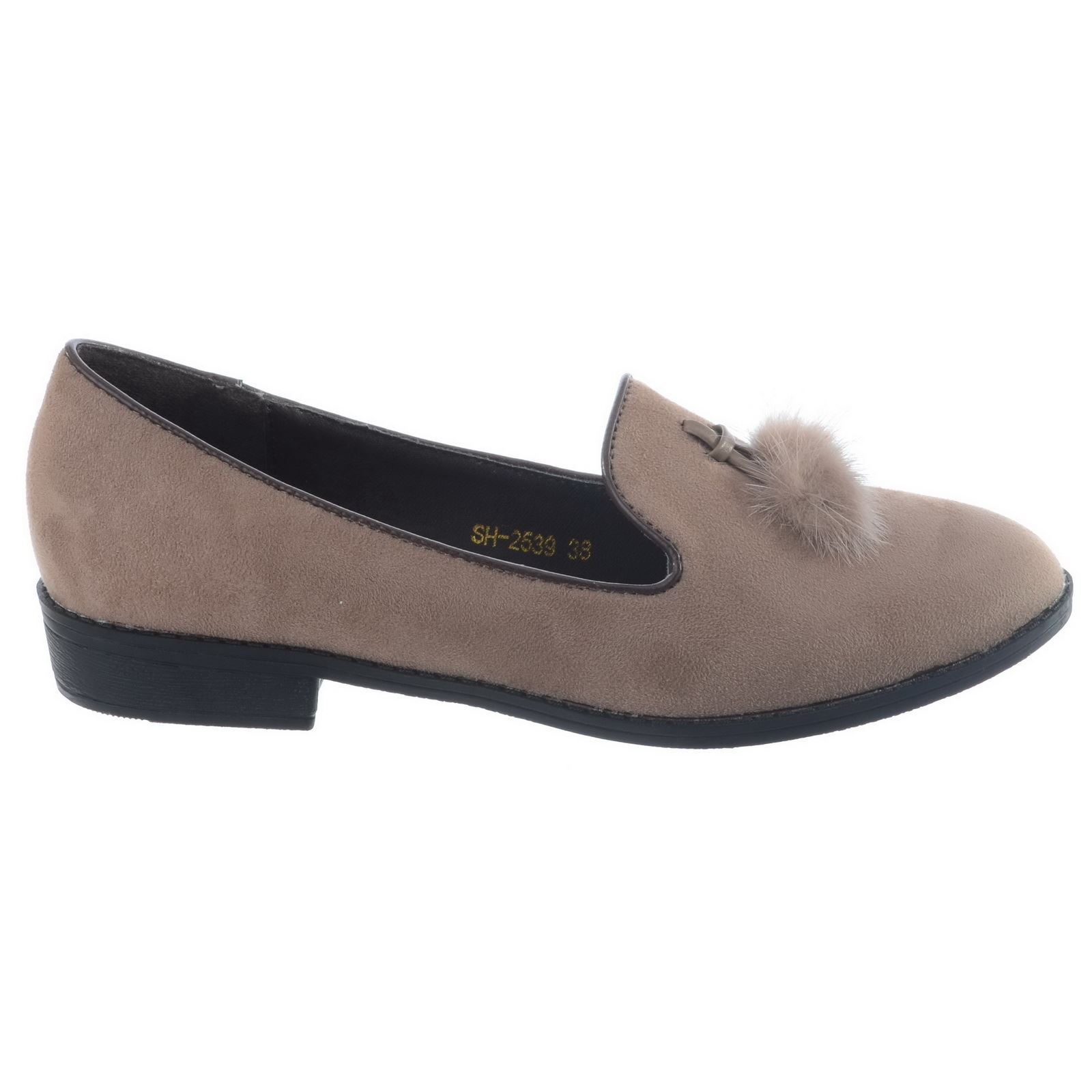 LADIES WOMENS GIRLS SLIP ON DOLLY BALLET PUMPS FUR TASSEL FLAT CASUAL SHOES SIZE