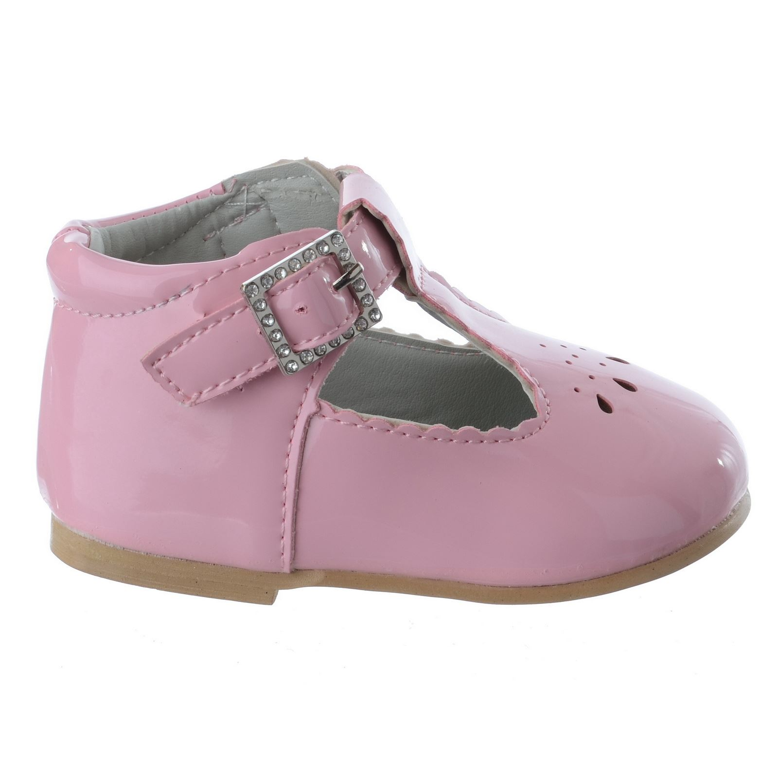 BABY GIRLS TODDLER T BAR DIAMANTE BUCKLE FLAT PARTY CHRISTENING SHOES SIZE 3-8