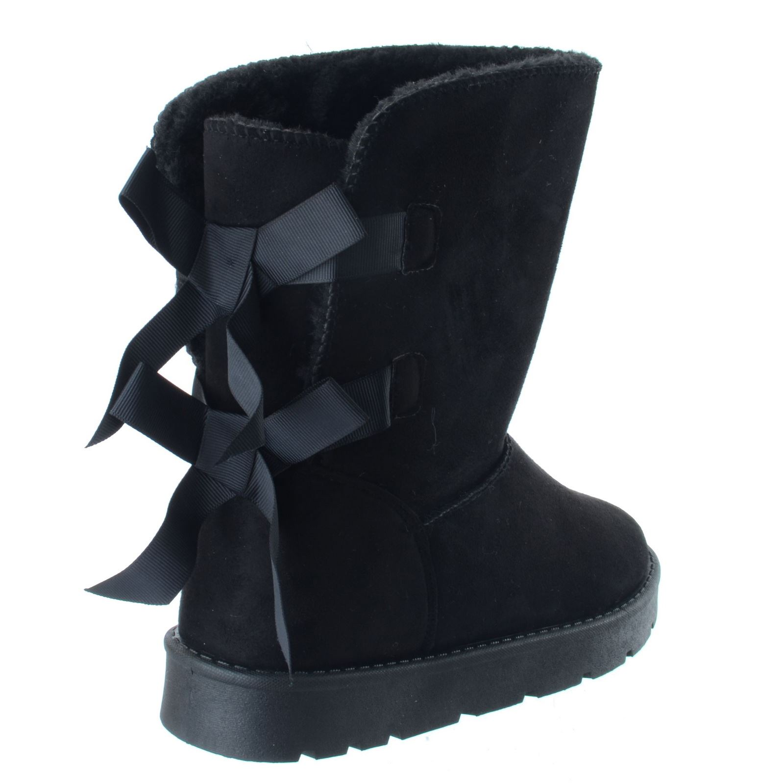 Ladies Winter Warm Winter Calf Flat Fur Lined Grip Sole Snugg Ankle Boots Size