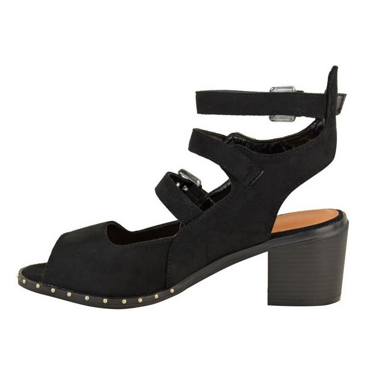 WOMENS LADIES LOW MID BLOCK HEEL BUCKLE CUT OUT ANKLE STRAPPY SANDALS SHOES SIZE