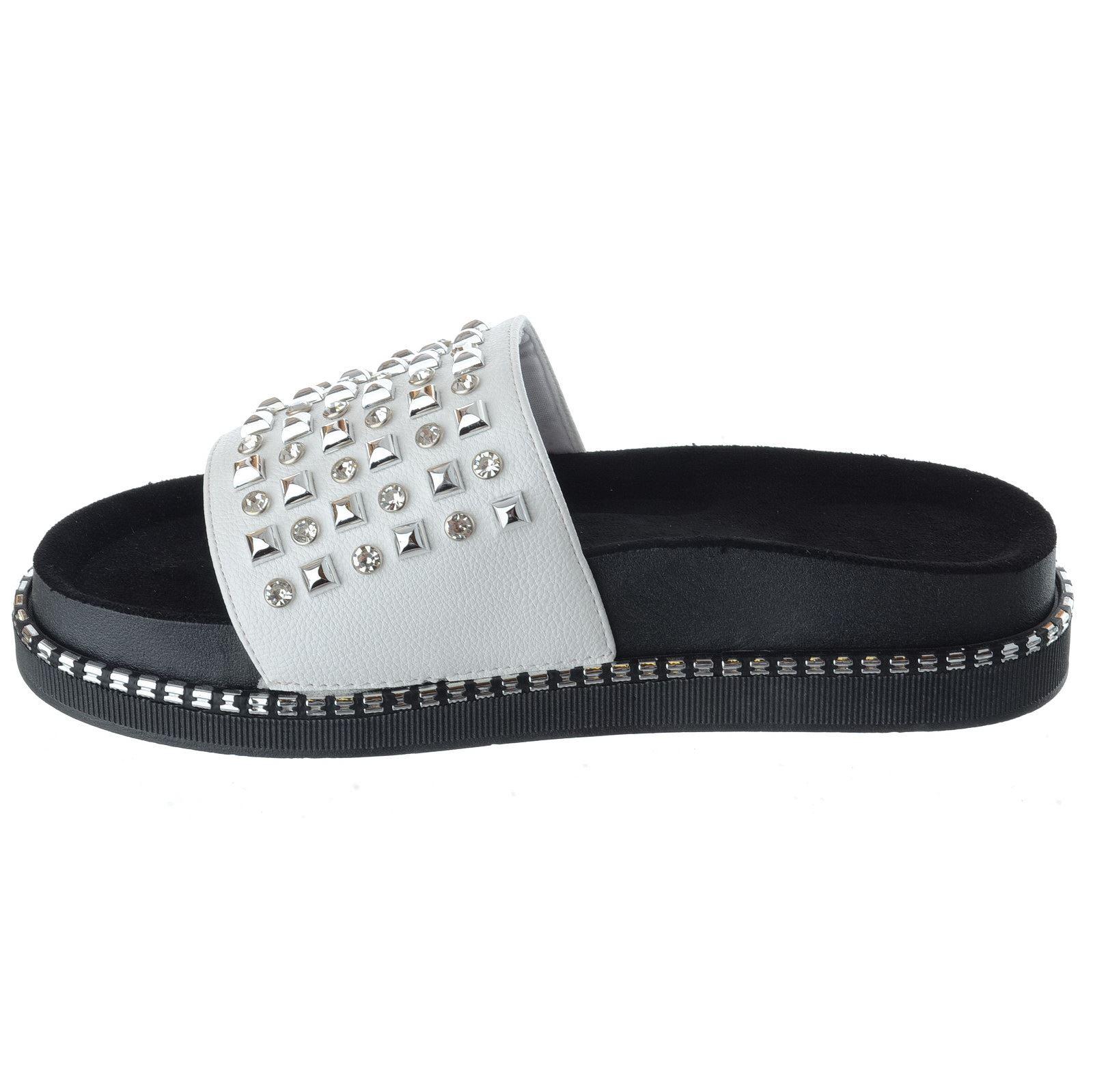 Ladies Womens Flat Low Heel Slip On Diamante Sliders Flatform Sandals Shoes Size